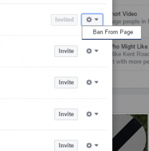 Facebook ban from page